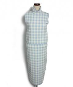 Snidel(スナイデル)の古着「ニットセットアップ」|ブルー×ホワイト