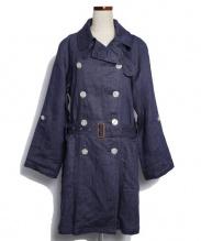 Traditional Weatherwear(トラディショナル ウェザーウェア)の古着「リネントレンチコート」 ネイビー