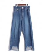 CINOH(チノ)の古着「カットオフワイドデニムパンツ」 ブルー