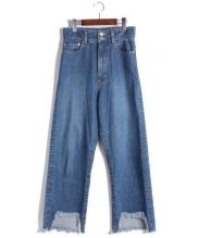 CINOH(チノ)の古着「カットオフワイドデニムパンツ」|ブルー