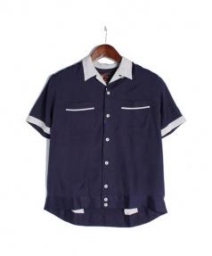 als attire(アルズアタイア)の古着「ボーリングシャツ」 ネイビー