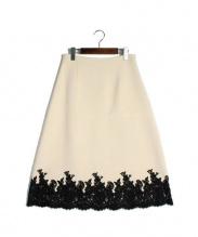 CELINE(セリーヌ)の古着「レース切替スカート」|アイボリー×ブラック