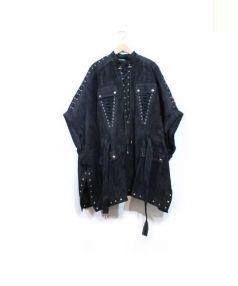 BALMAIN(バルマン)の古着「レーススエードポンチョ」|BLACK