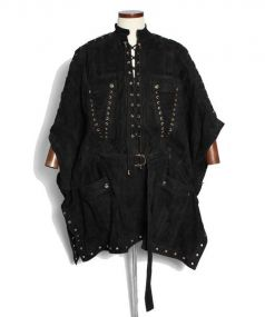 BALMAIN(バルマン)の古着「スエードポンチョ」|ブラック