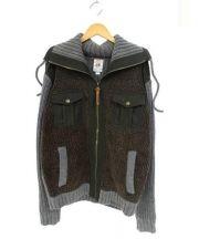 DIESEL(ディーゼル)の古着「ジップアップニット」|グレー