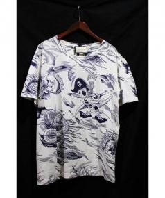 GUCCI(グッチ)の古着「17AW/シーストームドナルドプリントTシャツ」|ホワイト×ネイビー