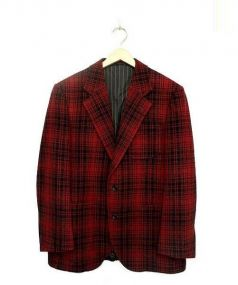 The Stylist Japan(ザスタイリストジャパン)の古着「ウールセットアップスリーピースチェック2Bスーツ」|レッド
