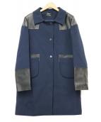 ANYA HINDMARCH(アニヤ ハインドマーチ)の古着「レザー使いウールコート」 ネイビー