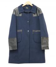 ANYA HINDMARCH(アニヤ ハインドマーチ)の古着「レザー使いウールコート」|ネイビー