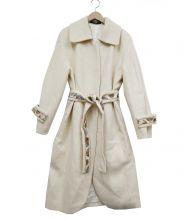 LEONARD FASHION(レオナールファッション)の古着「カシミヤ混ウールコート」|アイボリー