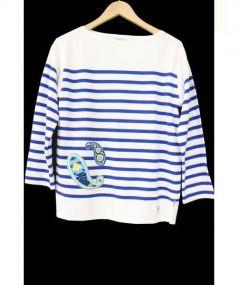 ORCIVAL(オーシバル)の古着「ペイズリー刺繍ラッセルボーダーバスクシャツ」|ブルー