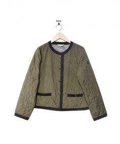 LANVIN SPORT(ランバン スポール)の古着「ノーカラー中綿ジャケット」|オリーブ