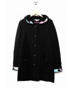 LEONARD SPORT(レオナールスポーツ)の古着「フーディーウールコート」|ブラック