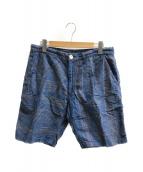 ()の古着「インディゴストールパターンショーツ」|ブルー