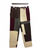 HOLLYWOOD RANCH MARKET(ハリウッドランチマーケッド)の古着「クレイジーパターンコーデュロイパンツ」|ブラウン×レッド
