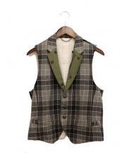 MIHARA YASUHIRO(ミハラヤスヒロ)の古着「チェックウールベスト」|グレー