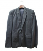 KRIS VAN ASSCHE(クリスヴァンアッシュ)の古着「ストライプテーラードジャケット」|ダークグリーン