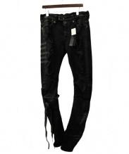 BEN TAVERNITI(ベン・タバニティ)の古着「クラッシュデニムパンツ」|ブラック