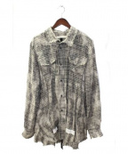 OFF WHITE(オフホワイト)の古着「リネンチェックロングシャツ」|グレー