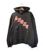 MR.COMPLETELY(ミスターコンプリートリー)の古着「ANGER刺繍パーカー」|ブラック