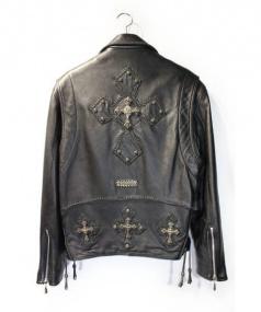 A&G(エーアンドジー)の古着「シルバーカスタムレザージャケット」 ブラック