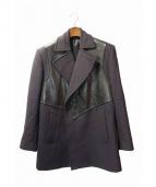 GIVENCHY(ジバンシー)の古着「レザー切替コート」|ネイビー