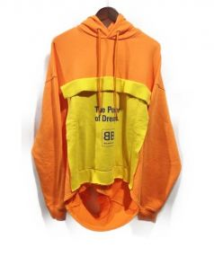 BALENCIAGA(バレンシアガ)の古着「18SS/ダブルヘムフーディー」|オレンジ