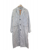 SELF MADE(セルフメイド)の古着「ロングコート」 ブラック×ホワイト