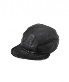 McCOY SPORTS WEAR(マッコイスポーツウェア)の古着「LEATHER MECHANIC CAP」|ブラウン (ブラック)