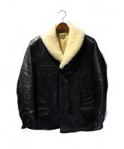 JOE McCOY(ジョーマッコイ)の古着「ムートンボアショールカラーホースハイドレザーコート」|ブラック