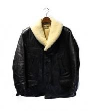 JOE McCOY(ジョーマッコイ)の古着「ムートンボアショールカラーホースハイドレザーコート」 ブラック