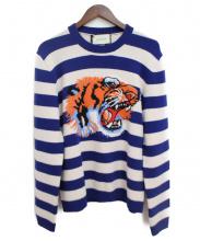 GUCCI(グッチ)の古着「タイガーボーダーニット」|ホワイト×ブルー