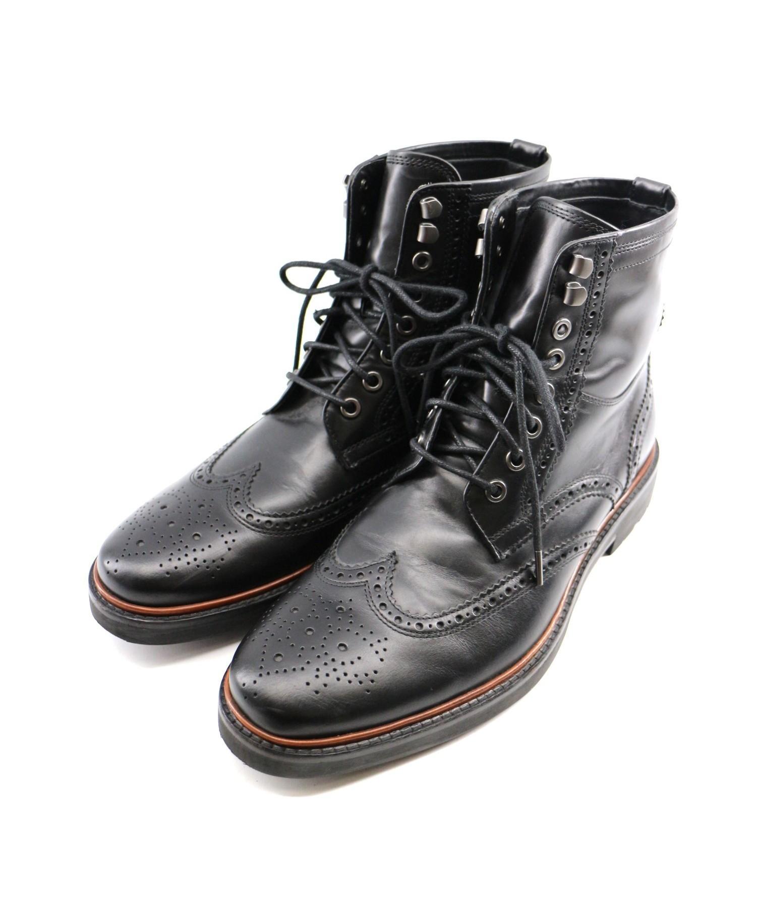 427f42cf3c7a 中古・古着通販】COACH (コーチ) ウィングチップブーツ ブラック サイズ ...