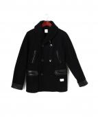 BEDWIN(ベドウィン)の古着「レザー切替ショールカラーコート」|ブラック