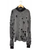 Y's(ワイズ)の古着「グランジニットジャケット」|グレー