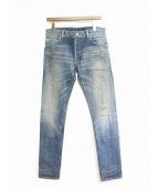 BALMAIN(バルマン)の古着「クラッシュ加工デニムパンツ」|インディゴ