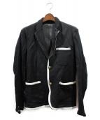 COMME des GARCONS HOMM(コムデギャルソンオム)の古着「メタルボタン縮絨テーラードジャケット」|ブラック