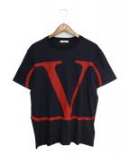 VALENTINO(ヴァレンティノ)の古着「VロゴTシャツ」|ネイビー