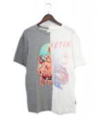 BILLIONAIRE BOYS CLUB(ビリオネアボーイズクラブ)の古着「再構築Tシャツ」|ホワイト×グレー