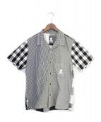 Mastermind JAPAN(マスターマインドジャパン)の古着「08SS 再構築チェック半袖シャツ」|ホワイト×ブラック