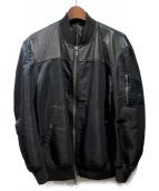 CHRISTIAN DADA(クリスチャンダダ)の古着「カウレザー切替ボンバージャケット」|ブラック