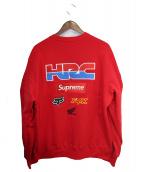 SUPREME × HONDA × FOX RACING(シュプリーム × ホンダ × フォックスレーシング)の古着「19AW Fox Racing Crewneck Sweat」 レッド