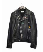 SAINT LAURENT PARIS(サンローランパリ)の古着「バッジライダースジャケット」 ブラック