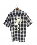 RHUDE(ルード)の古着「半袖チェックシャツ」|ブラック×グレー