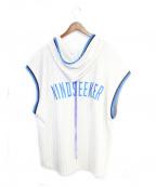 MINDSEEKER(マインドシーカー)の古着「ノースリーブパーカー」|ホワイト×ブルー