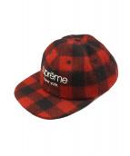 Supreme(シュプリーム)の古着「チェッククラシックロゴキャップ」 レッド×ブラック