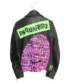 DSQUARED2(ディースクエアード)の古着「19SS PRINTED LEATHER JACKET」|ブラック