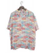 SON OF THE CHEESE(サノバチーズ)の古着「レンガ柄オープンカラーシャツ」|ブルー