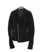 RICK OWENS(リックオウエンス)の古着「ピッグライダースレザージャケット」 ブラック