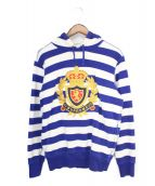 Supreme(シュプリーム)の古着「07AW Striped Pullover Hoodie」|ブルー×ホワイト
